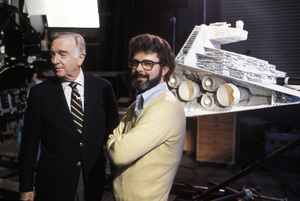 """George Lucas with Walter Cronkite on the set of """"Star Wars""""1977Photo by Gabi Rona - Image 0638_0006"""