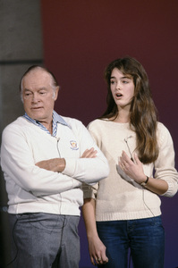 Brooke Shields and Bob Hope rehearsing for one of his special