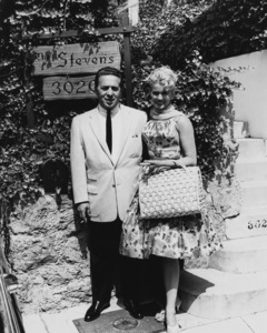 Connie Stevens and father in front of their housecirca 1962 Photo by Joe Shere - Image 0658_0107