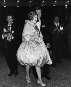 """Connie Stevens and date Gary Clarke at """"Spartacus"""" premiere (photographer David Sutton back left)1960Photo by Joe Shere - Image 0658_0143"""