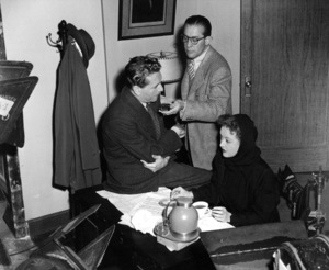 """Bette Davis with Paul Henreid and Cameraman Ernie Haller on set of """"Deception,"""" 1946.Photo by Frank Bjerrring - Image 0701_0311"""