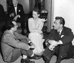 "Betted Davis, Paul Henreid, Dir. Irving Rapperbehind the scenes of ""Deception,"" 1946.Photo by Frank Bjerring - Image 0701_1012"