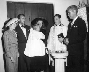 Bette Davis, Barbara Davis Sherry, William Grant Sherry, Rev. Ralph Burleigh Pease for Barbara