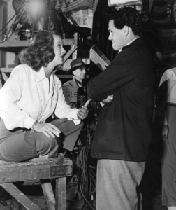 """Bette Davis and John Garfield on the set of""""Hollywood Canteen"""" 1944.Photo by Mack Elliott - Image 0701_1285"""
