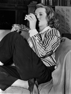 """Bette Davis behind the scenes of""""The Corn Is Green,"""" 1945.Photo by Morgan - Image 0701_1349"""