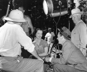 "Bette Davis and Joseph Cotten behindthe scenes of ""Beyond The Forest."" 1949 / WarnerPhoto by Bert Six - Image 0701_1363"