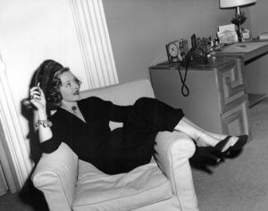 "Bette Davis between scenesduring filming of ""June Bride,"" 1948.Photo by Morgan - Image 0701_2170"