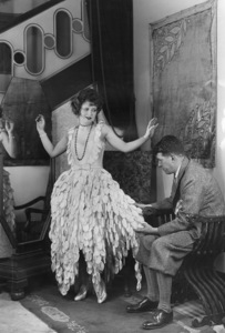 "Clara Bow on the set of ""Red Hair"" with costume designerTravis Banton1928 Paramount**I.V. - Image 0704_0418"