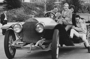 Twiggy and Ted the monk in a Stutz Bearcat - Image 0710_0052