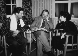 """Elizabeth Taylor, director Victor Saville and Robert Taylor going over the script of """"Conspirator""""1949MPTV - Image 0712_2147"""