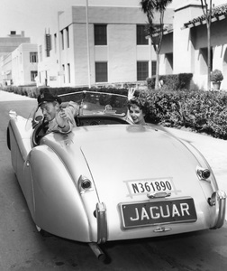 Elizabeth Taylor and Michael Wilding, MGM, 1952, I.V. In His Jaguar XK 120 - Image 0712_5124