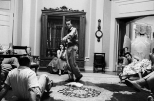 """Raintree County""Montgomery Clift rehearsing with director Edward Dmytryk and Elizabeth Taylor looking on1956 MGM © 1978 Bob Willoughby - Image 0712_5177"