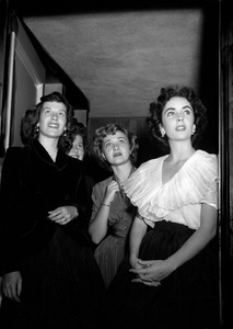 Elizabeth Taylor at a baby shower given by her and Barbara Thompson (left) for Marilyn Hilton.  Jane Powell is pictured in the center1950 © 1978 Bob Willoughby - Image 0712_5180