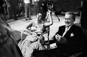 """Elizabeth Taylor and Clifton Webb on the set of """"A Star Is Born""""1954 © 1978 Bob Willoughby - Image 0712_5187"""