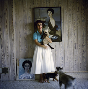 Elizabeth Taylor at her Beverly Hills home with her pet Siamese cat, Coffee (1953 Phillip Noyer painting behind head)circa 1956© 1978 Sanford Roth / A.M.P.A.S. - Image 0712_5309