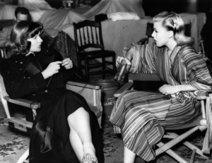 """Katharine Hepburn knitting while chatting during takes on the set of the film """"Stage Door""""1937 - Image 0722_2266"""