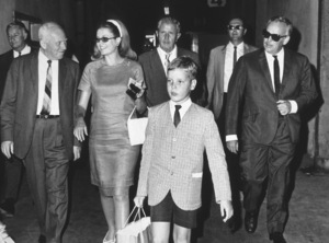 Grace Kelly, Amos Vogel, Howard Strickling, Prince Albert, and Prince Rainier visiting MGM studios.1967 - Image 0724_0111