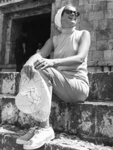 Grace Kelly visits the ruins at Chichen Itza, Yucatan, Mexico, 1968. - Image 0724_0149