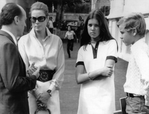 "Grace Kelly, Princess Caroline, Prince Albert, and Director of ""Lycee Albert Premier"" High School.Sept. 15, 1970. - Image 0724_0217"