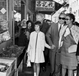Grace Kelly with Prince Rainier and daughter Caroline in San Francisco Chinatown, 1967. - Image 0724_0249