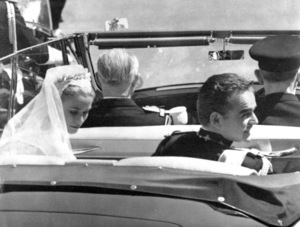 Grace Kelly and Prince Rainier in their Rolls Royce on their wedding day, 1956.**I.V. - Image 0724_0372
