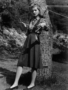 Lauren Bacall at the age of 17 during a back to school fashion shoot at Hawks Ranch for Harper