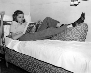 "Lauren Bacallrelaxing in her dressing room between scenes of ""Confidential Agent""1945Photo by Llyod MacLean - Image 0730_0074"