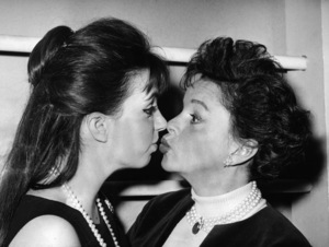 """Judy Garland and daughter Liza Minnelli backstage  at """"Best Foot Forward"""" which Liza was the star of  1963** I.V. - Image 0733_2282"""
