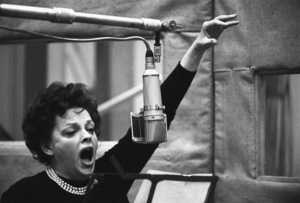 """Judy Garland at E.M.I. Studios, St. Johns Wood, London during a recording session for """"I Could Go on Singing""""1962© 1978 Bob Willoughby - Image 0733_2504"""