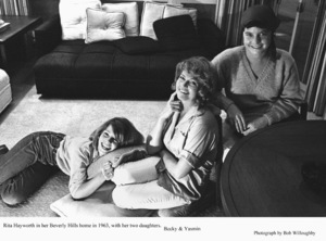 Rita Hayworth at home in Beverly Hillswith her daughters Becky and Yasmin 1963 © 1978 Bob Willoughby - Image 0742_2027