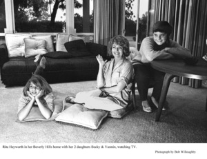 Rita Hayworth at home in Beverly Hillswith her daughters Becky and Yasmin 1963 © 1978 Bob Willoughby - Image 0742_2028