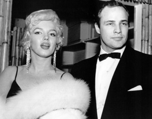 """Marilyn Monroe and Marlon Brandoat the premiere for """"The Rose Tattoo,""""1955 / **R.C. - Image 0758_0149"""