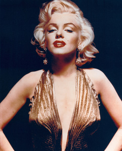 "Marilyn Monroe in a sheer gold lameTravilla gown in which she appearedbriefly in ""Gentlemen Prefer Blondes,""1953. Photo by Gene Kornman - Image 0758_0246"