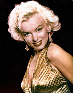"Marilyn Monroe in a sheer gold lameTravilla gown in which she appearedbriefly in ""Gentlemen Prefer Blondes,""1953, photo by Gene Kornman - Image 0758_0294"