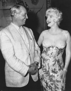 """Marilyn Monroe and Maurice Chevalieron the set of """"Some Like It Hot""""1959 UA / **R.C. - Image 0758_0453"""