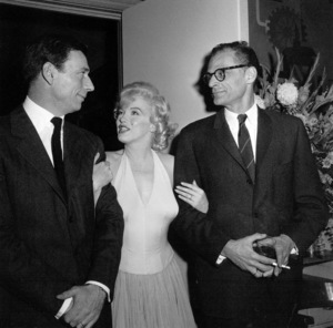 """Yves Montand, Marilyn Monroe, Arthur Millerat a party for """"Let"""