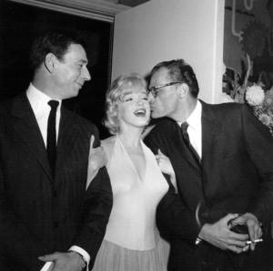 """Yves Montand,  Marilyn Monroe, Athur Millerat a party for """"Let"""