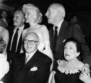 Darryl F. Zanuck, Marilyn Monroe, Jimmy McHugh, Walter Winchell and Louella Parsons celebrating Walter Winchell