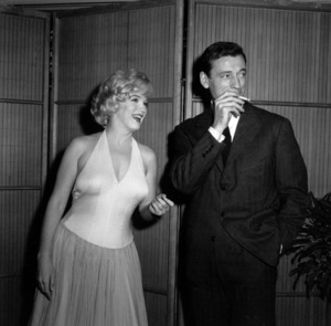 "Marilyn Monroe & Yves Montand at a press party for ""Let"