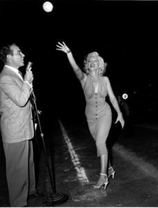 """Marilyn Monroe & Ralph Edwards at aHollywood Entertainers Baseball Game""""Out Of This World Series"""" with Ralph Edwardsat Gilmore Field in Hollywood, March 17, 1952. © 1978 Gerald Smith - Image 0758_0773"""