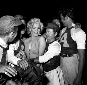 """Marilyn Monroe & Mickey Rooney at aHollywood Entertainers Baseball Game""""Out Of This World Series"""" at Gilmore Fieldin Hollywood, March 17, 1952. © 1978 Gerald Smith - Image 0758_0775"""