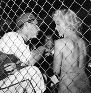 """Marilyn Monroe & Mickey Rooney at aHollywood Entertainers Baseball Game""""Out Of This World Series"""" at Gilmore Fieldin Hollywood, March 17, 1952. © 1978 Gerald Smith - Image 0758_0776"""