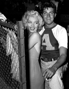 """Marilyn Monroe & Dale Robertson at aHollywood Entertainers Baseball Game""""Out Of This World Series"""" at Gilmore Fieldin Hollywood, March 17, 1952. © 1978 Gerald Smith - Image 0758_0777"""