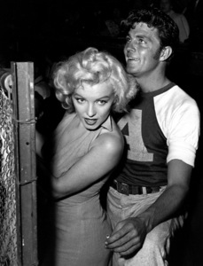 """Marilyn Monroe & Dale Robertson at aHollywood Entertainers Baseball Game""""Out Of This World Series"""" at Gilmore Fieldin Hollywood, March 17, 1952. © 1978 Gerald Smith - Image 0758_0779"""
