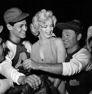 Marilyn Monroe with Art Aragonand Mickey Rooney at HollywoodEntertainers Baseball Game in Gilmore Fieldin Hollywood, March 17, 1952. © 1978 Gerlad Smith - Image 0758_0947