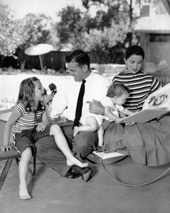 Shirley Temple, Charles Black and their children, Lori and Linda photographed at their home at Woodside, Californiacirca 1955 © 1978 John Engstead - Image 0763_0037