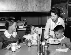 Shirley Temple at home in Atherton, California with her three children, Linda, Lori and Charles1956Photo by Gerald Smith - Image 0763_0597