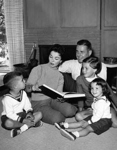 Shirley Temple at home with her husband Charles Black and their three children, Charles, Linda and Lori in Atherton, California1956Photo by Gerald Smith - Image 0763_0598