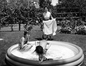 Shirley Temple at home in Atherton, California with her three children, Linda, Lori and Charles1956Photo by Gerald Smith - Image 0763_0599