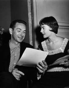 """Marion Hargrove, author of """"the Girl He Left Behind,"""" discussesthe story with Natalie Wood.  c. 1956.Photo by Jack Woods - Image 0764_0059"""
